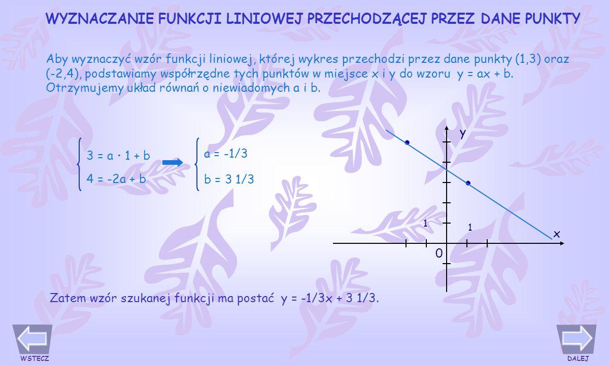 Wykresy funkcji liniowych y = ax + b, mających ten sam współczynnik kierunkowy a i różne współczynniki b, są prostymi równoległymi.
