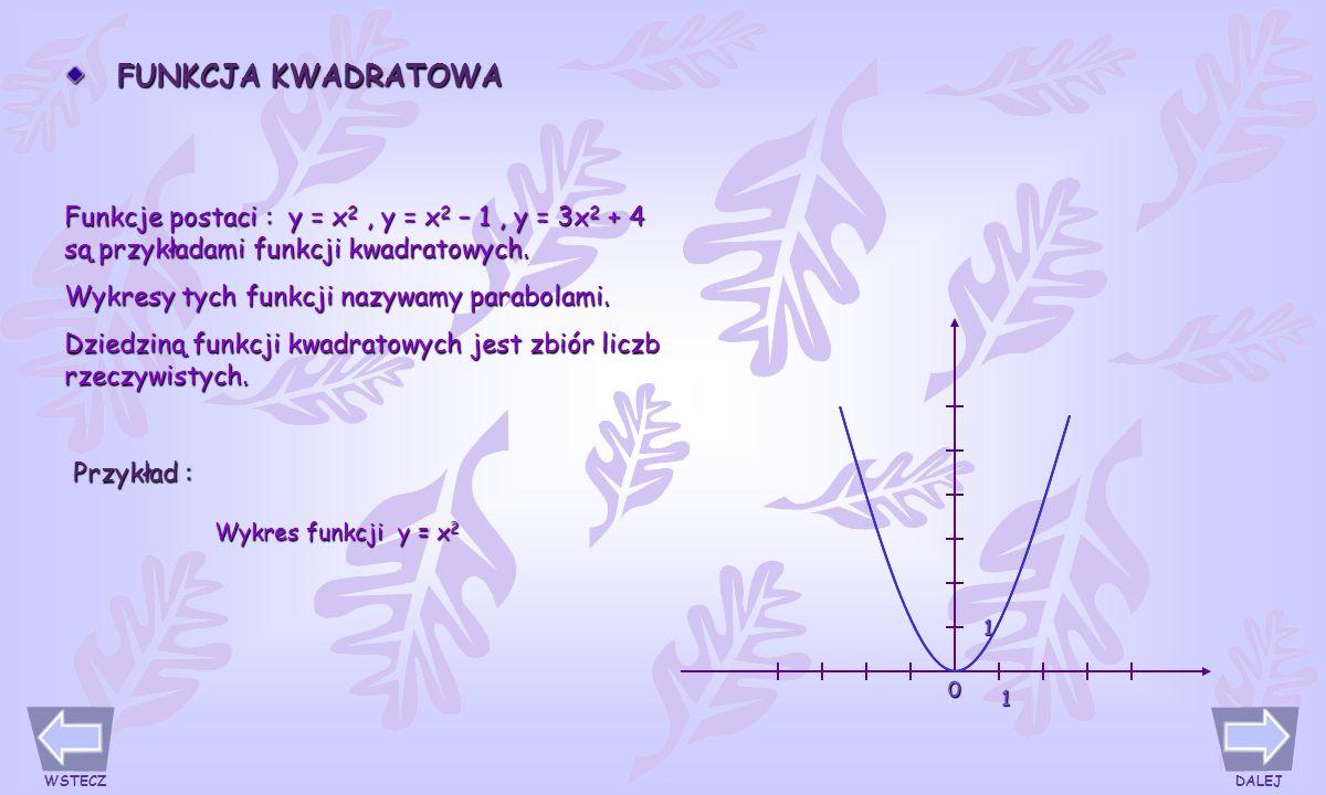 PRZYKŁADY FUNKCJI NIELINIOWYCH PROPORCJONALNOŚĆ ODWROTNA Funkcja y = a/x, a = 0 i x = 0, nazywana jest proporcjonalnością odwrotną.