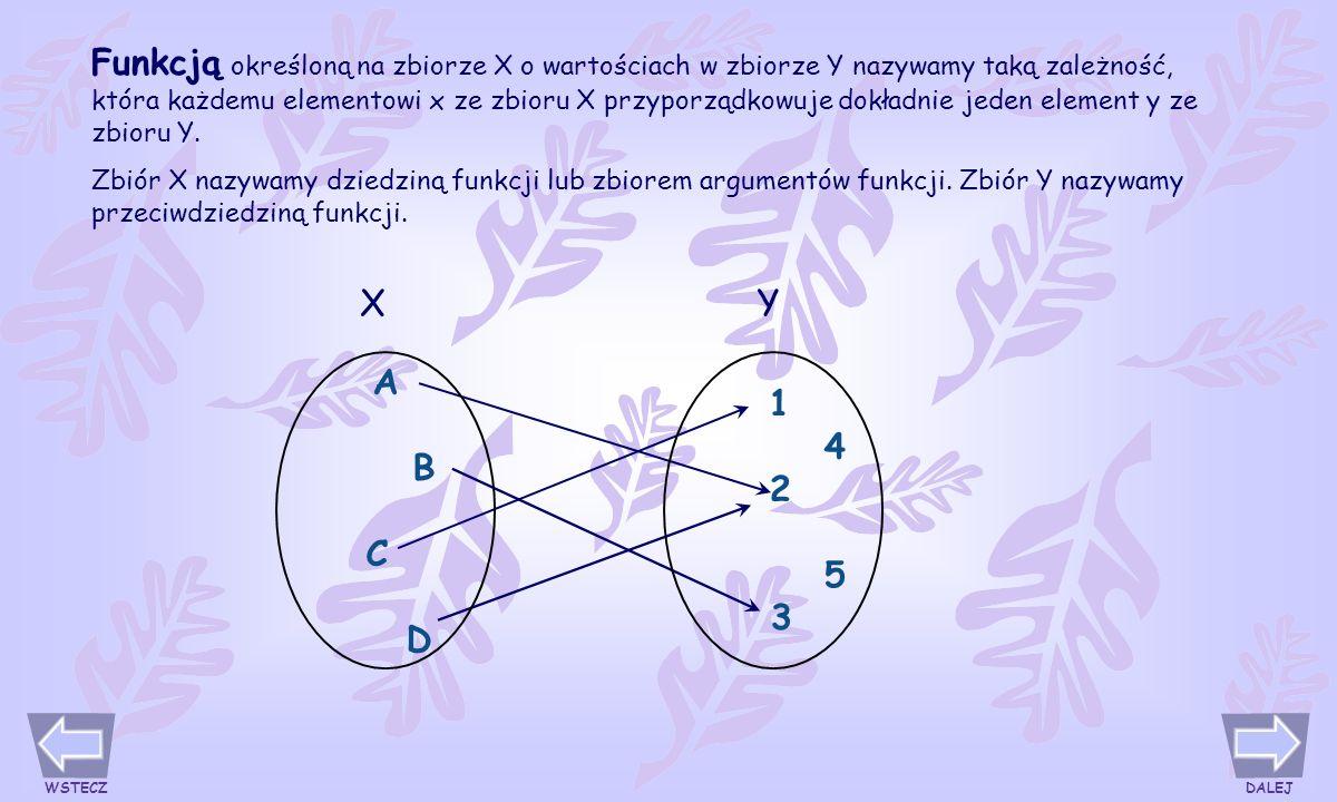 Funkcją określoną na zbiorze X o wartościach w zbiorze Y nazywamy taką zależność, która każdemu elementowi x ze zbioru X przyporządkowuje dokładnie jeden element y ze zbioru Y.