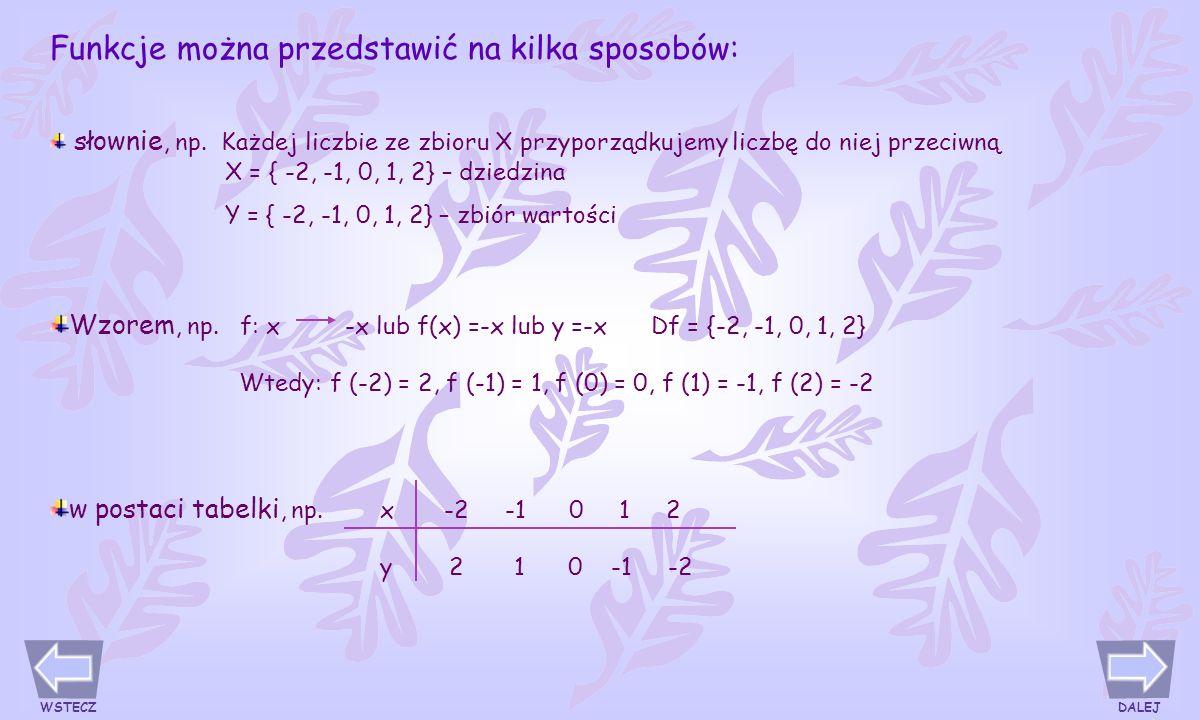 Funkcje można przedstawić na kilka sposobów: słownie, np.