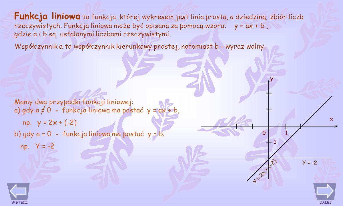 Funkcja liniowa to funkcja, której wykresem jest linia prosta, a dziedziną zbiór liczb rzeczywistych.