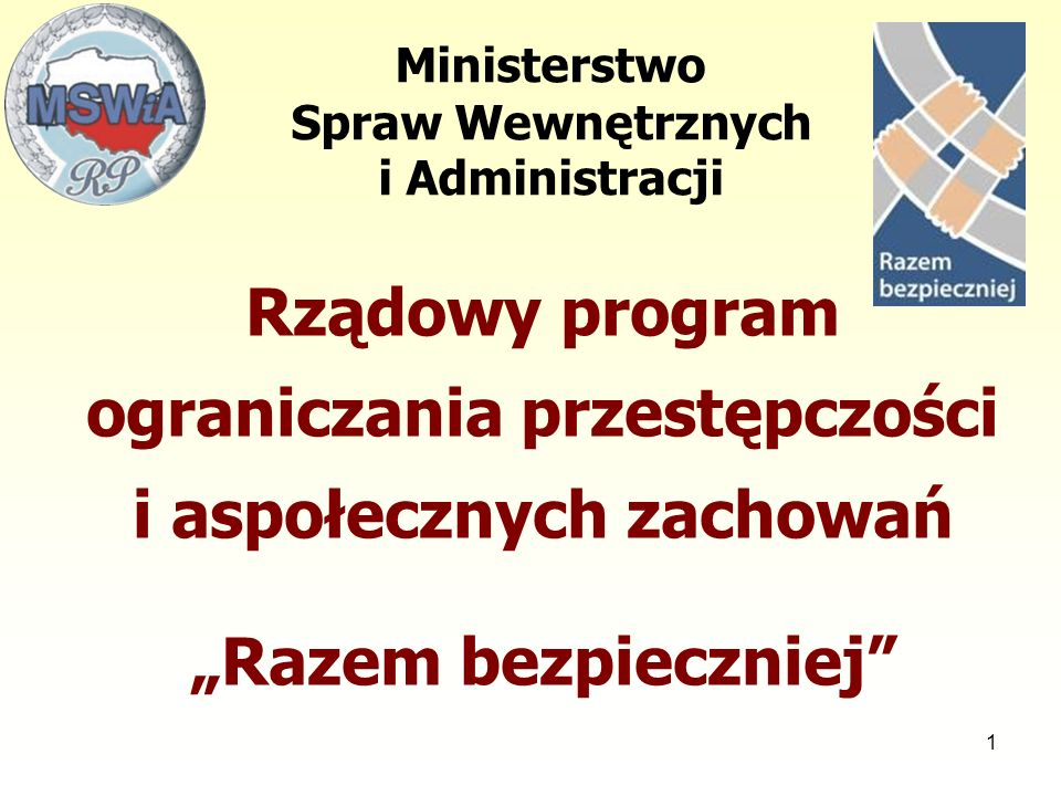 """1 Ministerstwo Spraw Wewnętrznych i Administracji Rządowy program ograniczania przestępczości i aspołecznych zachowań """"Razem bezpieczniej"""