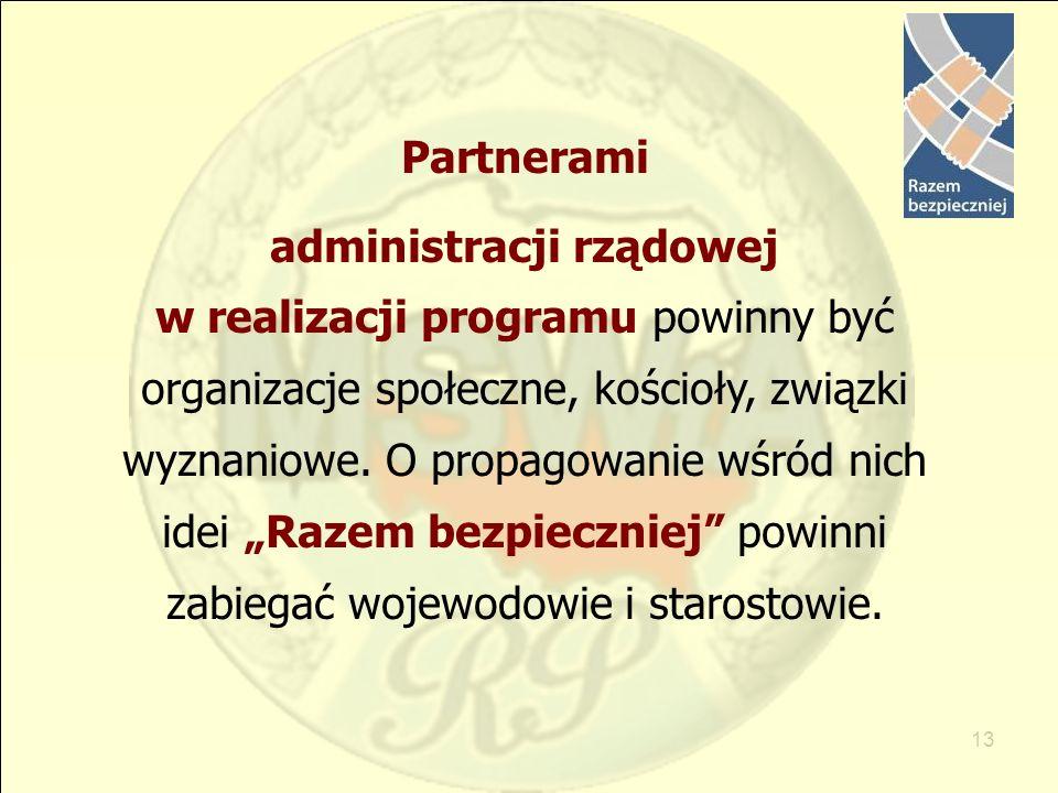 13 Partnerami administracji rządowej w realizacji programu powinny być organizacje społeczne, kościoły, związki wyznaniowe. O propagowanie wśród nich