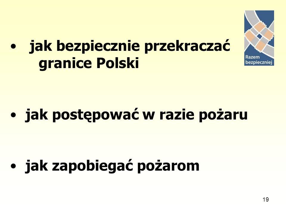 19 jak bezpiecznie przekraczać granice Polski jak postępować w razie pożaru jak zapobiegać pożarom