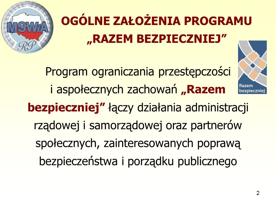53 Finansowanie programu  przekazywana do budżetów wojewodów z przeznaczeniem na dotacje na dofinansowanie zadań mieszczących się w ramach programu dla organizacji pożytku publicznego (głównie zadań o charakterze edukacyjnym i informacyjnym na poziomie lokalnym),  przekazanie lub wspólne wykonywanie zadań określonych w Programie przez wojewodów - zawieranie z jednostkami samorządu terytorialnego stosownych porozumień administracyjnych rezerwa celowa