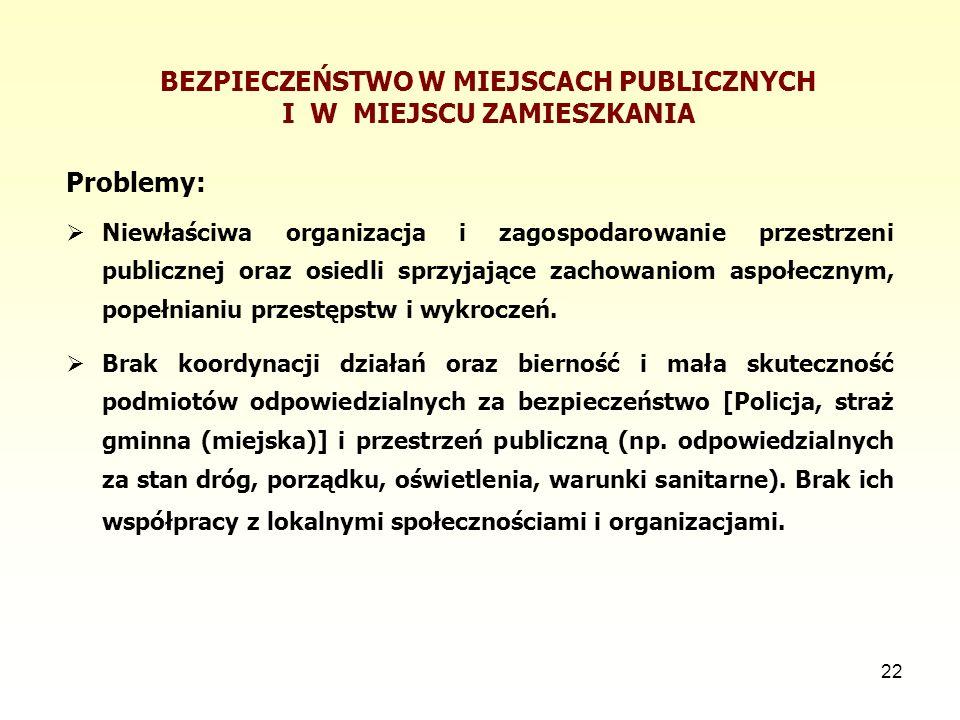22 BEZPIECZEŃSTWO W MIEJSCACH PUBLICZNYCH I W MIEJSCU ZAMIESZKANIA Problemy:  Niewłaściwa organizacja i zagospodarowanie przestrzeni publicznej oraz