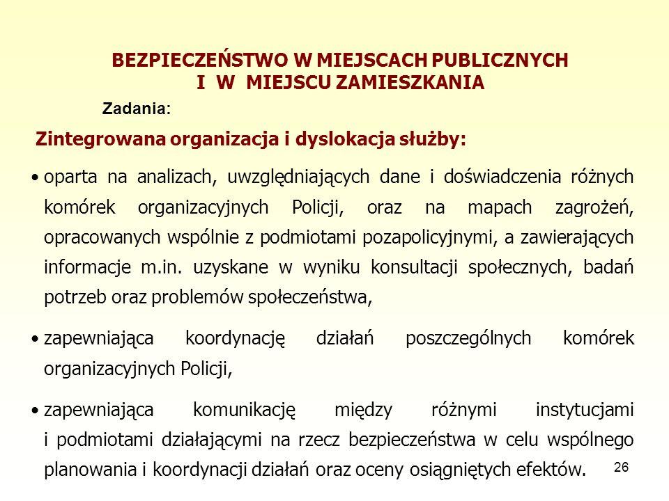 26 BEZPIECZEŃSTWO W MIEJSCACH PUBLICZNYCH I W MIEJSCU ZAMIESZKANIA Zadania: Zintegrowana organizacja i dyslokacja służby: oparta na analizach, uwzględ