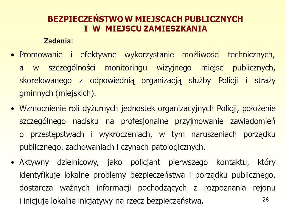 28 BEZPIECZEŃSTWO W MIEJSCACH PUBLICZNYCH I W MIEJSCU ZAMIESZKANIA Zadania: Promowanie i efektywne wykorzystanie możliwości technicznych, a w szczegól
