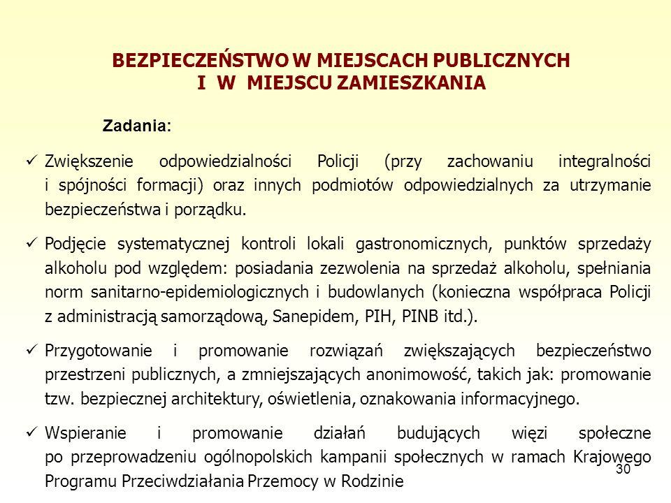 30 BEZPIECZEŃSTWO W MIEJSCACH PUBLICZNYCH I W MIEJSCU ZAMIESZKANIA Zadania: Zwiększenie odpowiedzialności Policji (przy zachowaniu integralności i spó