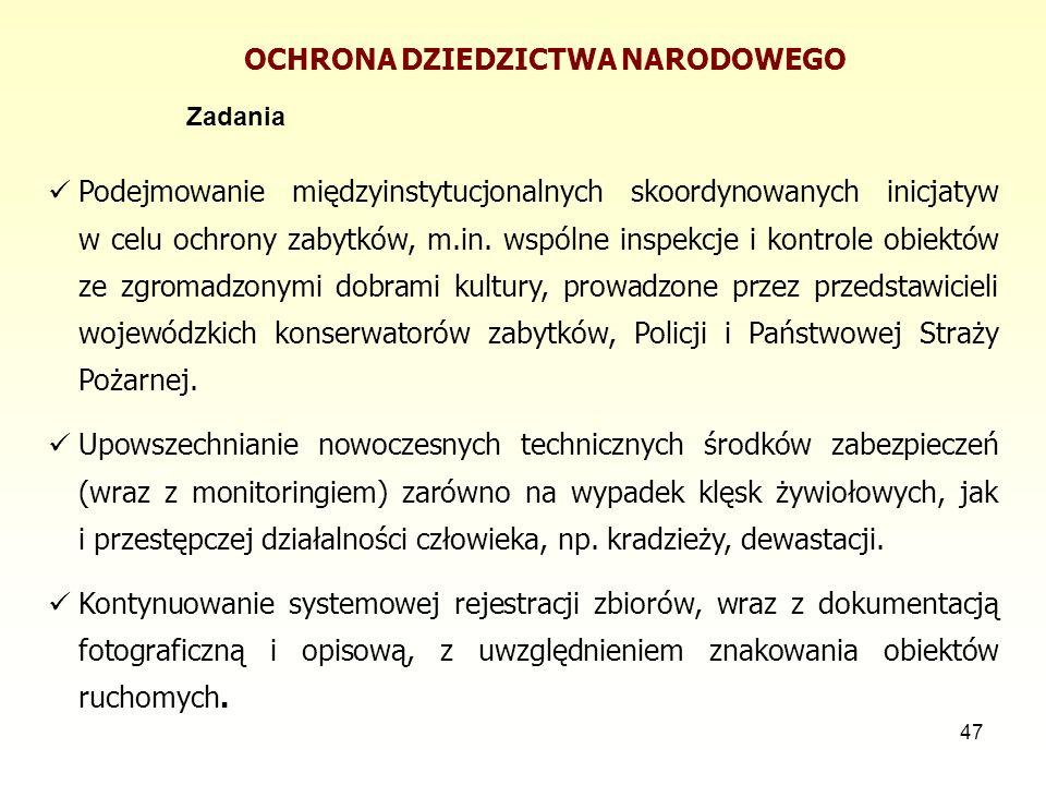 47 OCHRONA DZIEDZICTWA NARODOWEGO Zadania Podejmowanie międzyinstytucjonalnych skoordynowanych inicjatyw w celu ochrony zabytków, m.in. wspólne inspek