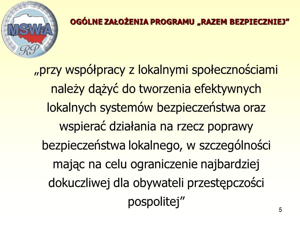 6 wzrost realnego bezpieczeństwa w Polsce, wzrost poczucia bezpieczeństwa wśród mieszkańców Polski, zapobieganie przestępczości i aspołecznym zachowaniom poprzez zaktywizowanie i zdynamizowanie działań administracji rządowej na rzecz współpracy z administracją samorządową, organizacjami pozarządowymi i społecznością lokalną, poprawa wizerunku i wzrost zaufania społecznego do Policji i innych służb działających rzecz poprawy bezpieczeństwa i porządku publicznego Główne cele programu :
