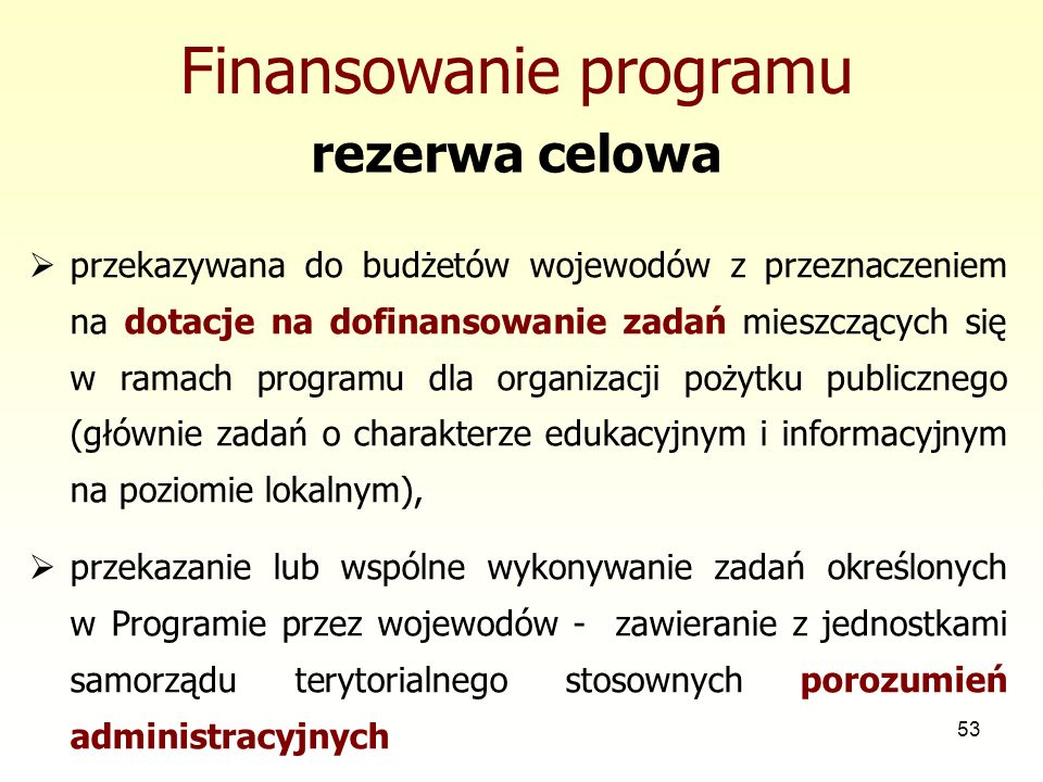 53 Finansowanie programu  przekazywana do budżetów wojewodów z przeznaczeniem na dotacje na dofinansowanie zadań mieszczących się w ramach programu d