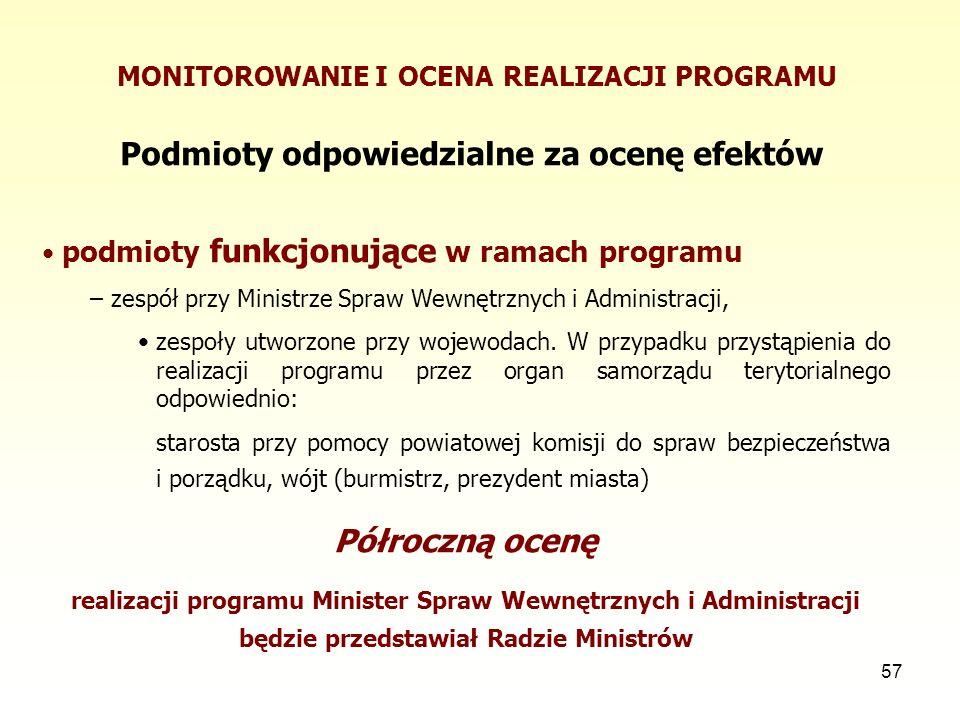 57 MONITOROWANIE I OCENA REALIZACJI PROGRAMU Podmioty odpowiedzialne za ocenę efektów podmioty funkcjonujące w ramach programu – zespół przy Ministrze