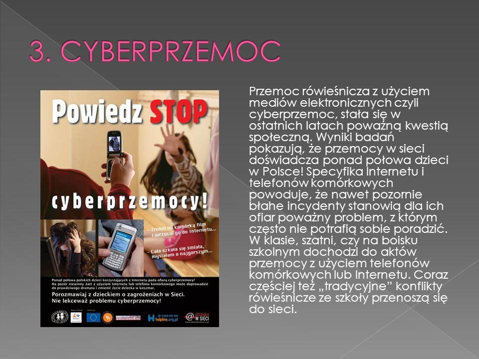 Przemoc rówieśnicza z użyciem mediów elektronicznych czyli cyberprzemoc, stała się w ostatnich latach poważną kwestią społeczną.