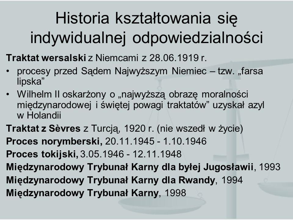 Historia kształtowania się indywidualnej odpowiedzialności Traktat wersalski z Niemcami z 28.06.1919 r. procesy przed Sądem Najwyższym Niemiec – tzw.