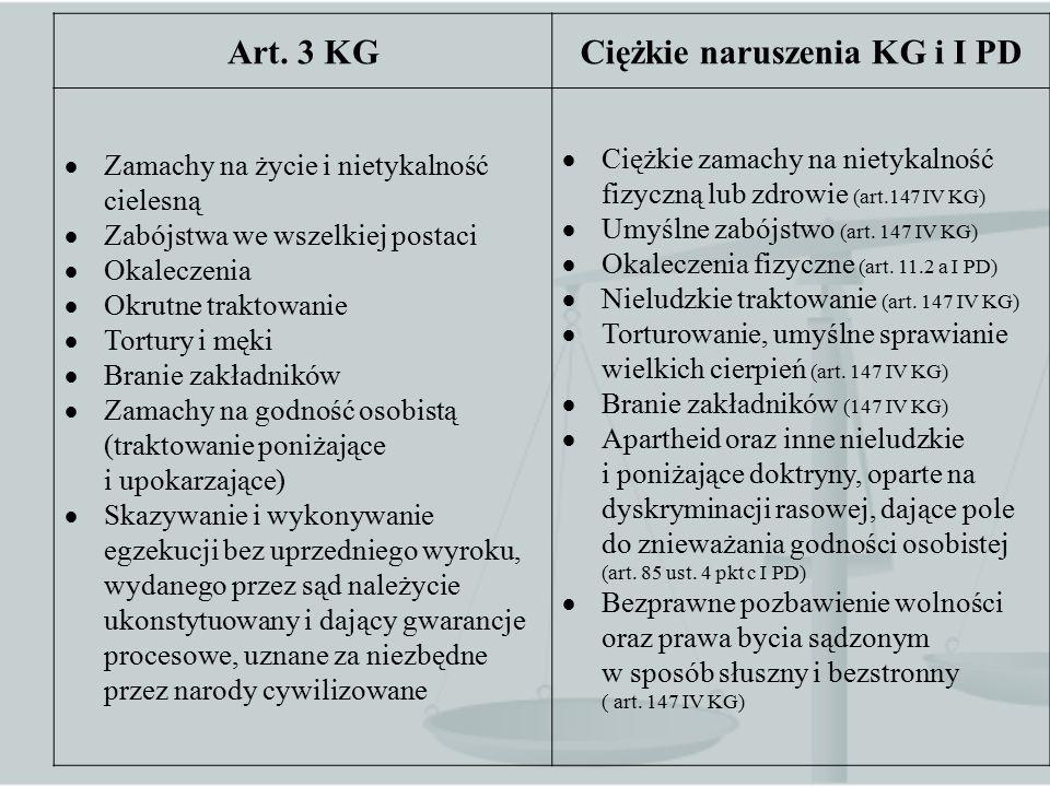 . Art. 3 KGCiężkie naruszenia KG i I PD  Zamachy na życie i nietykalność cielesną  Zabójstwa we wszelkiej postaci  Okaleczenia  Okrutne traktowani