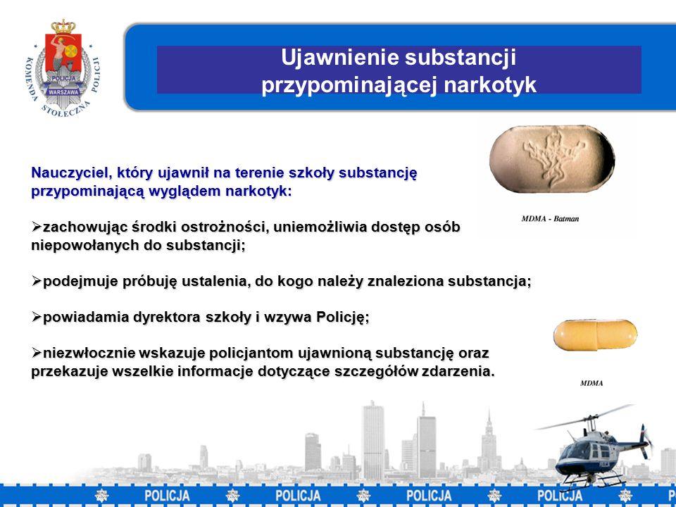 11 Ujawnienie substancji przypominającej narkotyk Nauczyciel, który ujawnił na terenie szkoły substancję przypominającą wyglądem narkotyk:  zachowując środki ostrożności, uniemożliwia dostęp osób niepowołanych do substancji;  podejmuje próbuję ustalenia, do kogo należy znaleziona substancja;  powiadamia dyrektora szkoły i wzywa Policję;  niezwłocznie wskazuje policjantom ujawnioną substancję oraz przekazuje wszelkie informacje dotyczące szczegółów zdarzenia.