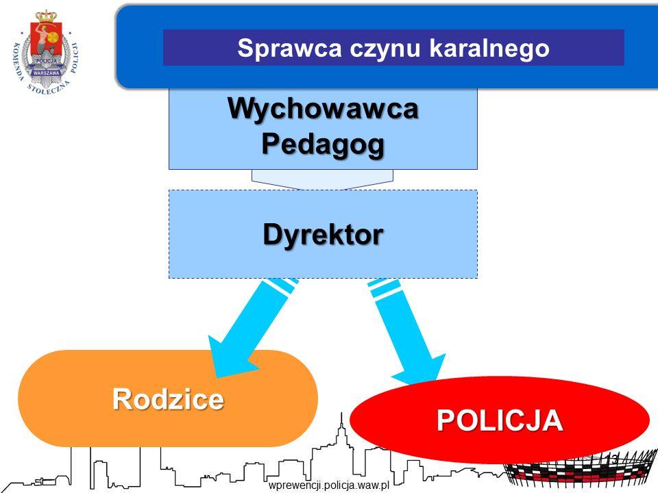 13 Wychowawca Pedagog Rodzice POLICJA Dyrektor Sprawca czynu karalnego