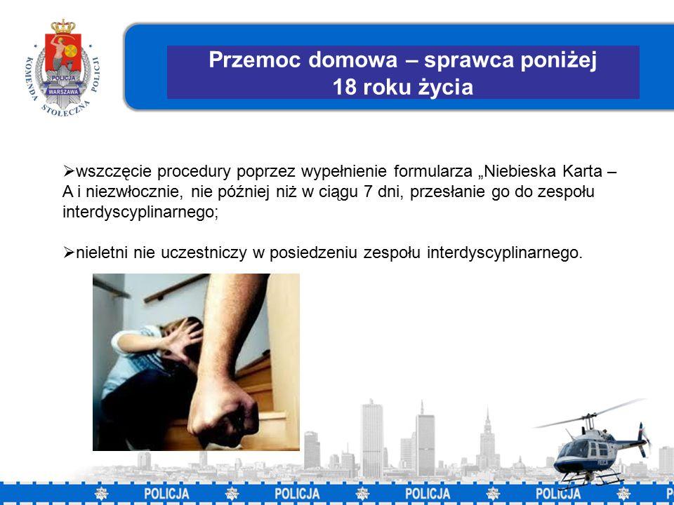 """28 Przemoc domowa – sprawca poniżej 18 roku życia  wszczęcie procedury poprzez wypełnienie formularza """"Niebieska Karta – A i niezwłocznie, nie później niż w ciągu 7 dni, przesłanie go do zespołu interdyscyplinarnego;  nieletni nie uczestniczy w posiedzeniu zespołu interdyscyplinarnego."""