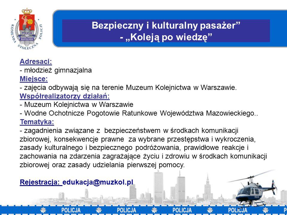 """38 Bezpieczny i kulturalny pasażer - """"Koleją po wiedzę Adresaci: - młodzież gimnazjalna Miejsce: - zajęcia odbywają się na terenie Muzeum Kolejnictwa w Warszawie."""