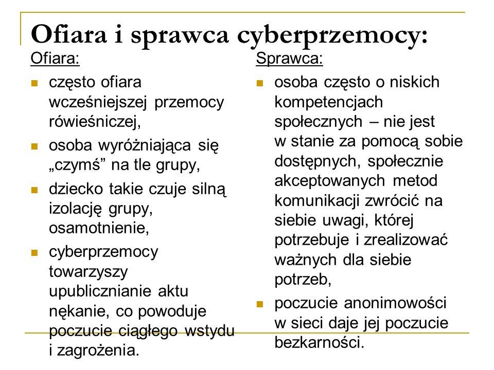 """Ofiara i sprawca cyberprzemocy: Ofiara: często ofiara wcześniejszej przemocy rówieśniczej, osoba wyróżniająca się """"czymś na tle grupy, dziecko takie czuje silną izolację grupy, osamotnienie, cyberprzemocy towarzyszy upublicznianie aktu nękanie, co powoduje poczucie ciągłego wstydu i zagrożenia."""