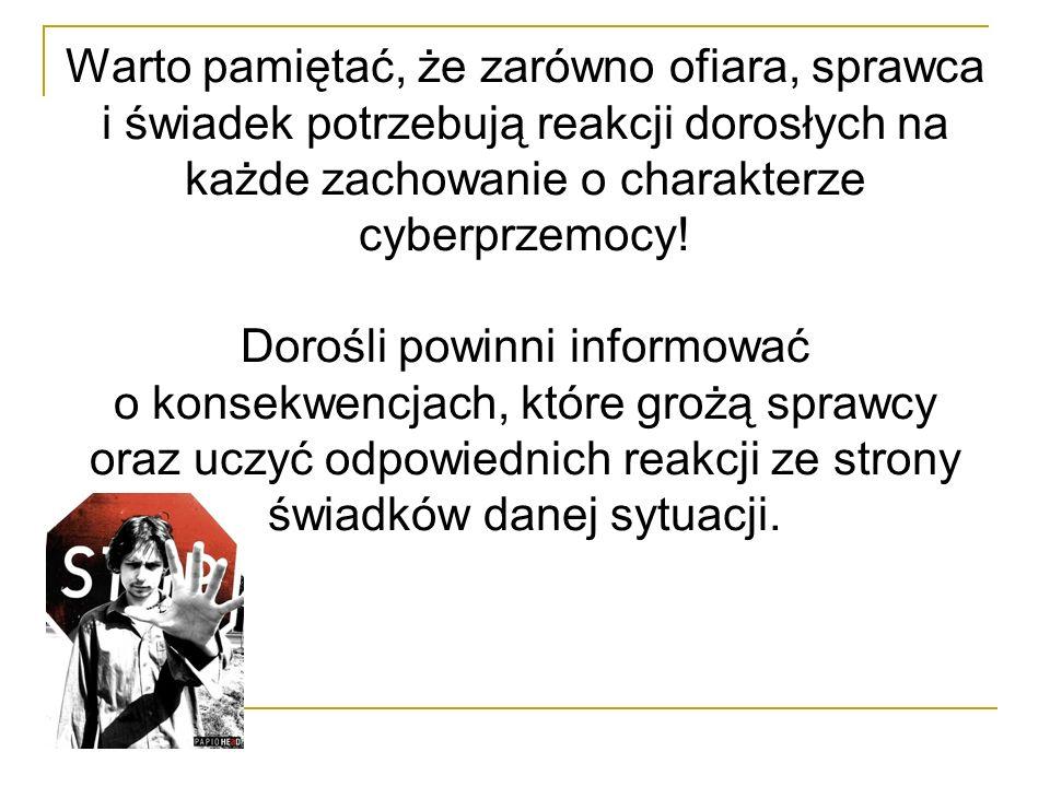 Warto pamiętać, że zarówno ofiara, sprawca i świadek potrzebują reakcji dorosłych na każde zachowanie o charakterze cyberprzemocy! Dorośli powinni inf