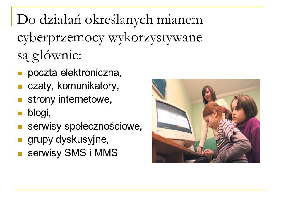 Do działań określanych mianem cyberprzemocy wykorzystywane są głównie: poczta elektroniczna, czaty, komunikatory, strony internetowe, blogi, serwisy społecznościowe, grupy dyskusyjne, serwisy SMS i MMS