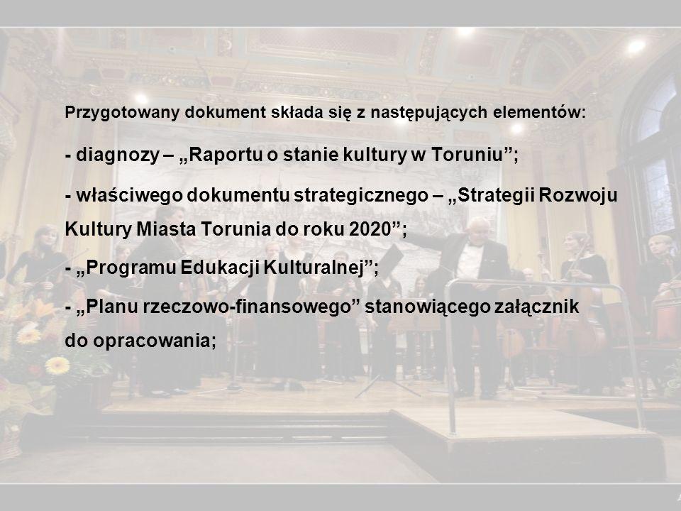 """Przygotowany dokument składa się z następujących elementów: - diagnozy – """"Raportu o stanie kultury w Toruniu ; - właściwego dokumentu strategicznego – """"Strategii Rozwoju Kultury Miasta Torunia do roku 2020 ; - """"Programu Edukacji Kulturalnej ; - """"Planu rzeczowo-finansowego stanowiącego załącznik do opracowania;"""