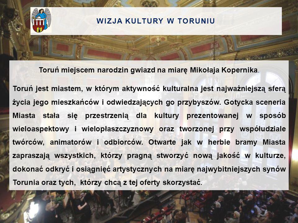 WIZJA KULTURY W TORUNIU Toruń miejscem narodzin gwiazd na miarę Mikołaja Kopernika. Toruń jest miastem, w którym aktywność kulturalna jest najważniejs