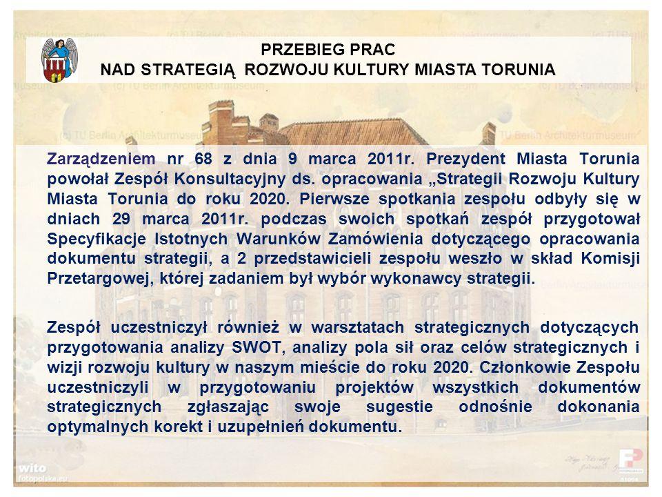 Zarządzeniem nr 68 z dnia 9 marca 2011r.Prezydent Miasta Torunia powołał Zespół Konsultacyjny ds.
