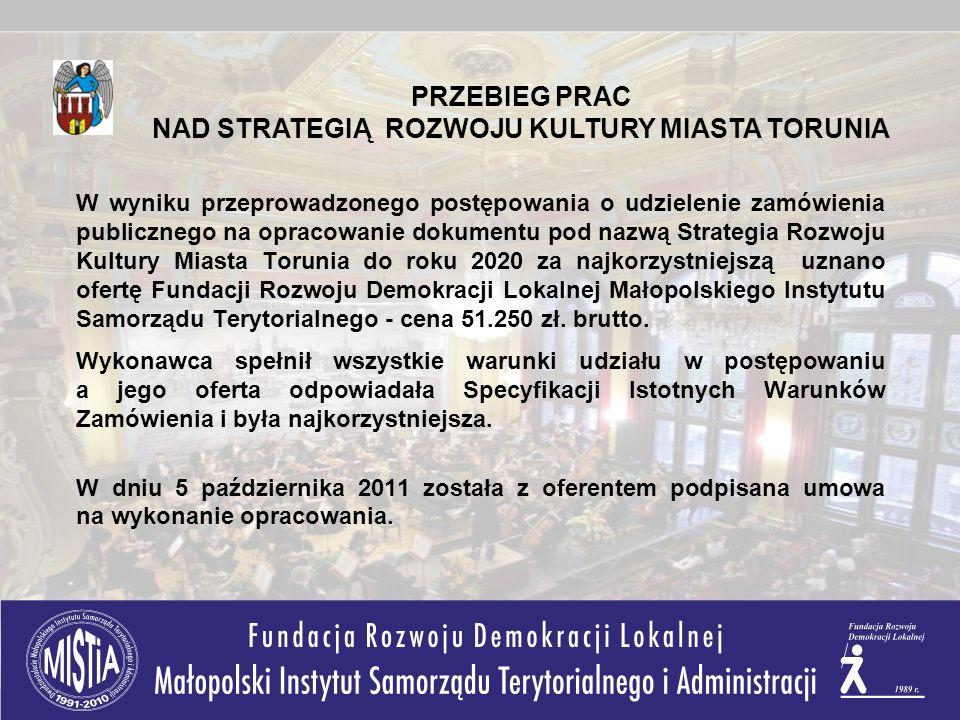 W wyniku przeprowadzonego postępowania o udzielenie zamówienia publicznego na opracowanie dokumentu pod nazwą Strategia Rozwoju Kultury Miasta Torunia do roku 2020 za najkorzystniejszą uznano ofertę Fundacji Rozwoju Demokracji Lokalnej Małopolskiego Instytutu Samorządu Terytorialnego - cena 51.250 zł.