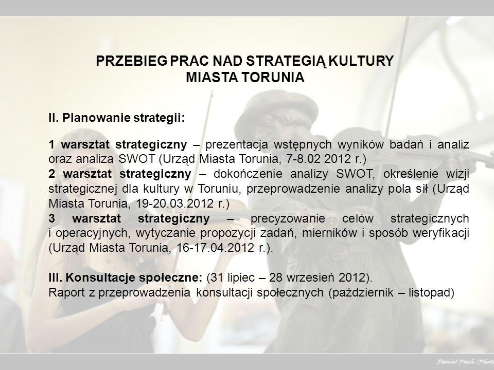 PRZEBIEG PRAC NAD STRATEGIĄ KULTURY MIASTA TORUNIA II. Planowanie strategii: 1 warsztat strategiczny – prezentacja wstępnych wyników badań i analiz or