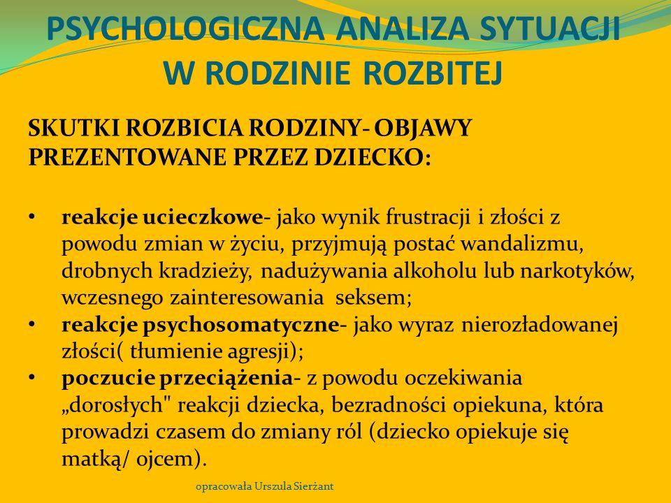 PSYCHOLOGICZNA ANALIZA SYTUACJI W RODZINIE ROZBITEJ opracowała Urszula Sierżant SKUTKI ROZBICIA RODZINY- OBJAWY PREZENTOWANE PRZEZ DZIECKO: reakcje uc