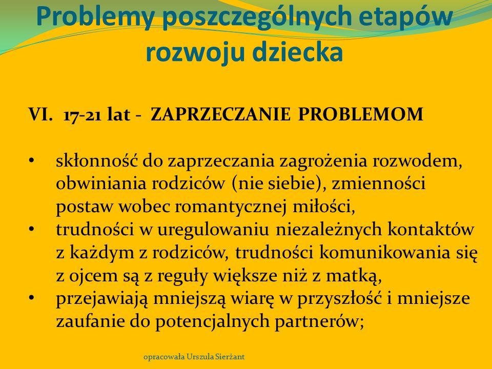 Problemy poszczególnych etapów rozwoju dziecka opracowała Urszula Sierżant VI. 17-21 lat - ZAPRZECZANIE PROBLEMOM skłonność do zaprzeczania zagrożenia