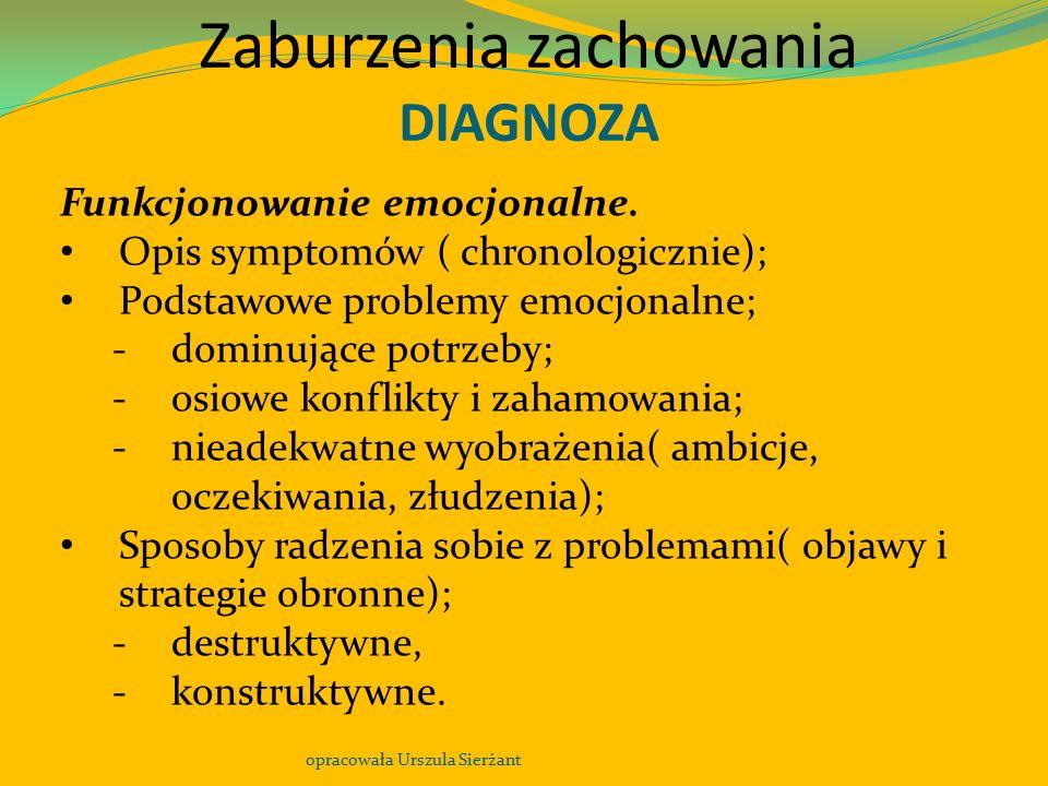 Zaburzenia zachowania DIAGNOZA opracowała Urszula Sierżant Funkcjonowanie emocjonalne. Opis symptomów ( chronologicznie); Podstawowe problemy emocjona