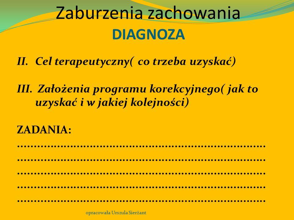 Zaburzenia zachowania DIAGNOZA opracowała Urszula Sierżant II.Cel terapeutyczny( co trzeba uzyskać) III. Założenia programu korekcyjnego( jak to uzysk