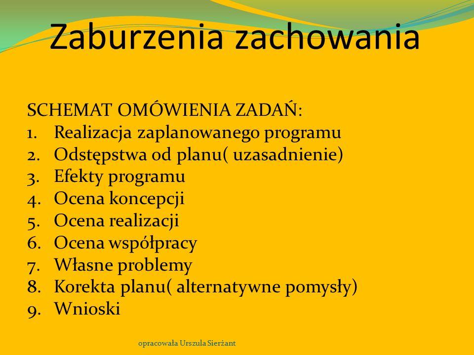 Zaburzenia zachowania opracowała Urszula Sierżant SCHEMAT OMÓWIENIA ZADAŃ: 1.Realizacja zaplanowanego programu 2.Odstępstwa od planu( uzasadnienie) 3.
