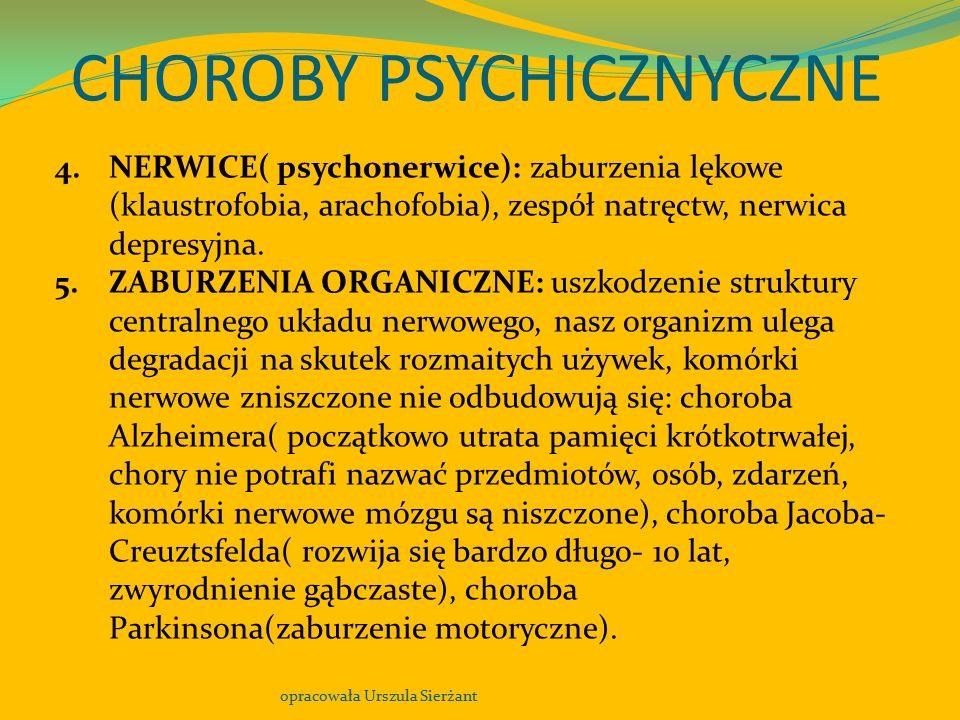 CHOROBY PSYCHICZNYCZNE opracowała Urszula Sierżant 4.NERWICE( psychonerwice): zaburzenia lękowe (klaustrofobia, arachofobia), zespół natręctw, nerwica