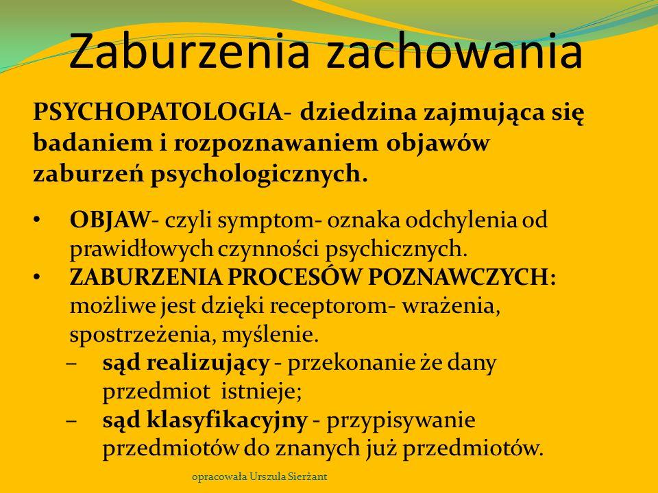 Zaburzenia zachowania opracowała Urszula Sierżant PSYCHOPATOLOGIA- dziedzina zajmująca się badaniem i rozpoznawaniem objawów zaburzeń psychologicznych