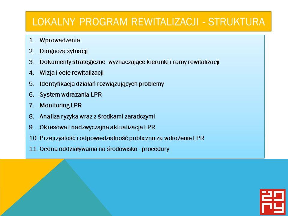 LOKALNY PROGRAM REWITALIZACJI - STRUKTURA 1.Wprowadzenie 2.Diagnoza sytuacji 3.Dokumenty strategiczne wyznaczające kierunki i ramy rewitalizacji 4.Wizja i cele rewitalizacji 5.Identyfikacja działań rozwiązujących problemy 6.System wdrażania LPR 7.Monitoring LPR 8.Analiza ryzyka wraz z środkami zaradczymi 9.Okresowa i nadzwyczajna aktualizacja LPR 10.Przejrzystość i odpowiedzialność publiczna za wdrożenie LPR 11.Ocena oddziaływania na środowisko - procedury 1.Wprowadzenie 2.Diagnoza sytuacji 3.Dokumenty strategiczne wyznaczające kierunki i ramy rewitalizacji 4.Wizja i cele rewitalizacji 5.Identyfikacja działań rozwiązujących problemy 6.System wdrażania LPR 7.Monitoring LPR 8.Analiza ryzyka wraz z środkami zaradczymi 9.Okresowa i nadzwyczajna aktualizacja LPR 10.Przejrzystość i odpowiedzialność publiczna za wdrożenie LPR 11.Ocena oddziaływania na środowisko - procedury