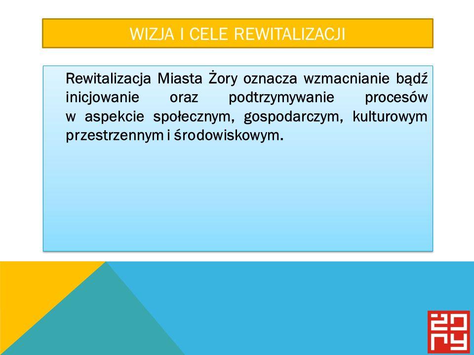 WIZJA I CELE REWITALIZACJI Rewitalizacja Miasta Żory oznacza wzmacnianie bądź inicjowanie oraz podtrzymywanie procesów w aspekcie społecznym, gospodarczym, kulturowym przestrzennym i środowiskowym.