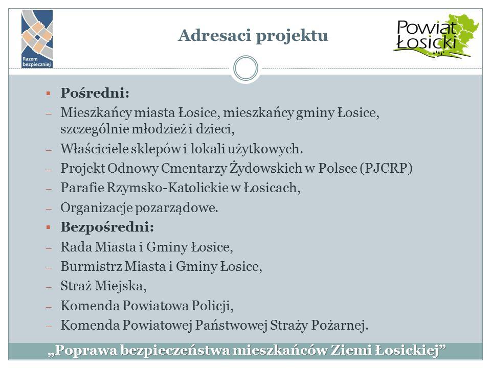  Pośredni:  Mieszkańcy miasta Łosice, mieszkańcy gminy Łosice, szczególnie młodzież i dzieci,  Właściciele sklepów i lokali użytkowych.  Projekt O