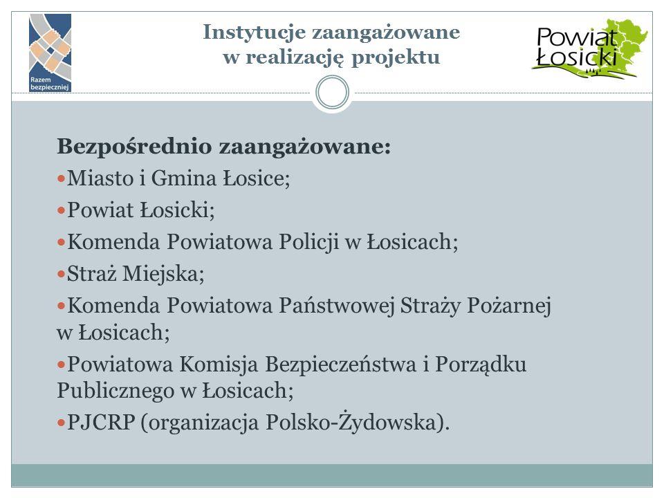 Instytucje zaangażowane w realizację projektu Bezpośrednio zaangażowane: Miasto i Gmina Łosice; Powiat Łosicki; Komenda Powiatowa Policji w Łosicach;