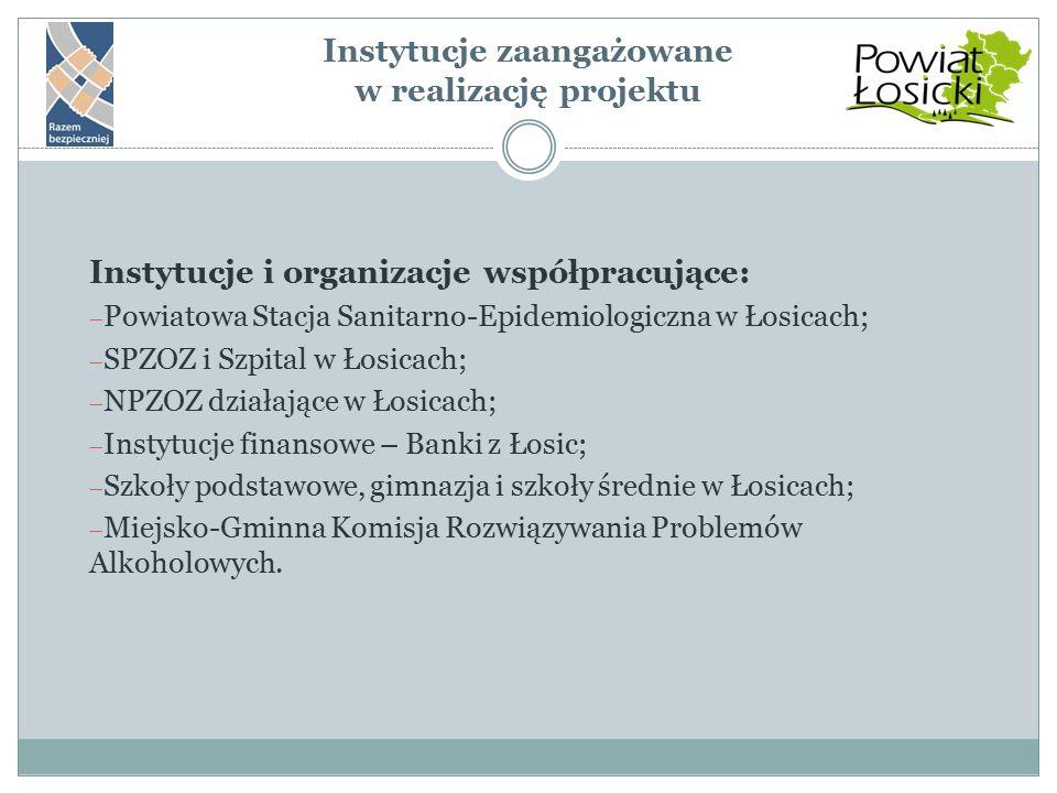 Instytucje zaangażowane w realizację projektu Instytucje i organizacje współpracujące:  Powiatowa Stacja Sanitarno-Epidemiologiczna w Łosicach;  SPZ