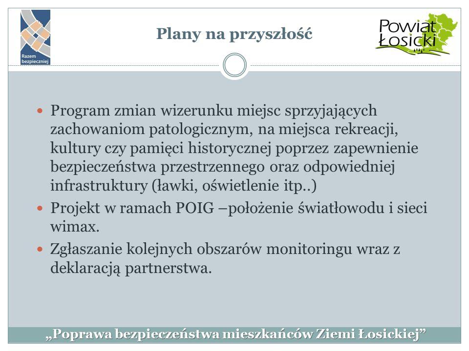 """Plany na przyszłość """"Poprawa bezpieczeństwa mieszkańców Ziemi Łosickiej"""" Program zmian wizerunku miejsc sprzyjających zachowaniom patologicznym, na mi"""