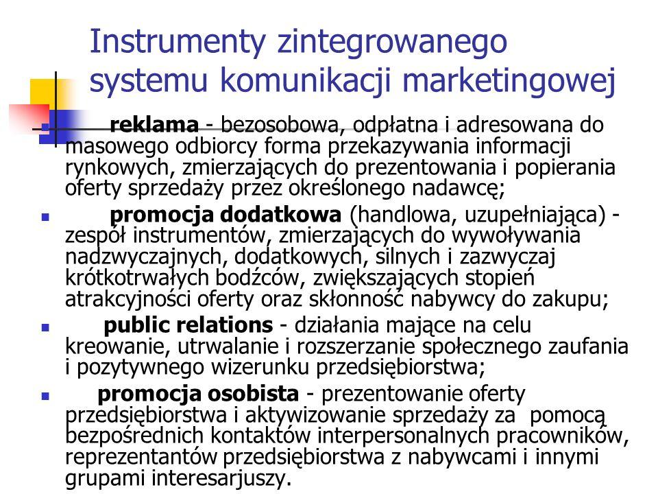 Instrumenty zintegrowanego systemu komunikacji marketingowej reklama - bezosobowa, odpłatna i adresowana do masowego odbiorcy forma przekazywania informacji rynkowych, zmierzających do prezentowania i popierania oferty sprzedaży przez określonego nadawcę; promocja dodatkowa (handlowa, uzupełniająca) - zespół instrumentów, zmierzających do wywoływania nadzwyczajnych, dodatkowych, silnych i zazwyczaj krótkotrwałych bodźców, zwiększających stopień atrakcyjności oferty oraz skłonność nabywcy do zakupu; public relations - działania mające na celu kreowanie, utrwalanie i rozszerzanie społecznego zaufania i pozytywnego wizerunku przedsiębiorstwa; promocja osobista - prezentowanie oferty przedsiębiorstwa i aktywizowanie sprzedaży za pomocą bezpośrednich kontaktów interpersonalnych pracowników, reprezentantów przedsiębiorstwa z nabywcami i innymi grupami interesarjuszy.