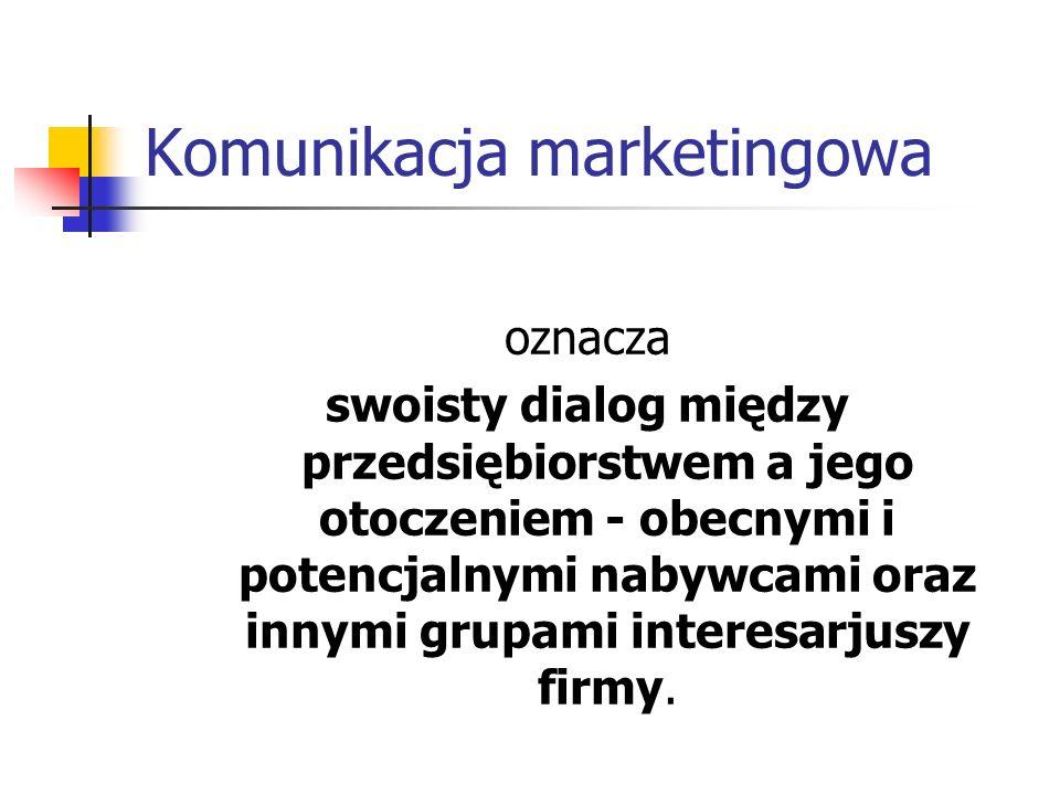 Komunikacja marketingowa oznacza swoisty dialog między przedsiębiorstwem a jego otoczeniem - obecnymi i potencjalnymi nabywcami oraz innymi grupami interesarjuszy firmy.