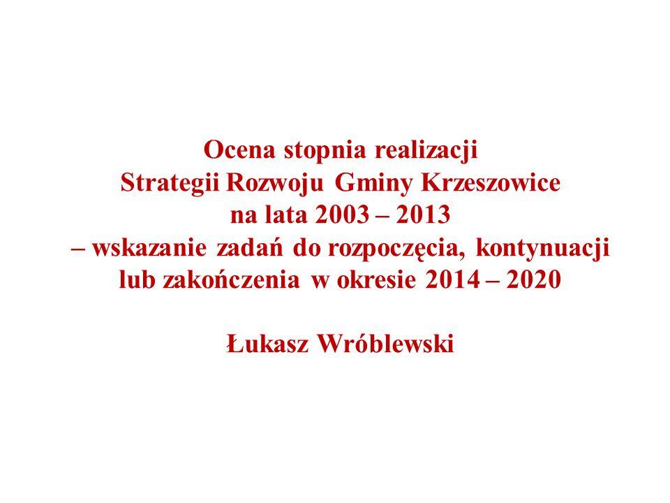 Ocena stopnia realizacji Strategii Rozwoju Gminy Krzeszowice na lata 2003 – 2013 – wskazanie zadań do rozpoczęcia, kontynuacji lub zakończenia w okresie 2014 – 2020 Łukasz Wróblewski