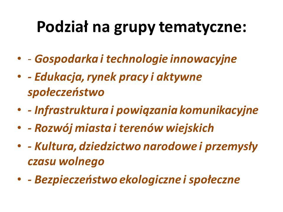 Podział na grupy tematyczne: - Gospodarka i technologie innowacyjne - Edukacja, rynek pracy i aktywne społeczeństwo - Infrastruktura i powiązania komunikacyjne - Rozwój miasta i terenów wiejskich - Kultura, dziedzictwo narodowe i przemysły czasu wolnego - Bezpieczeństwo ekologiczne i społeczne