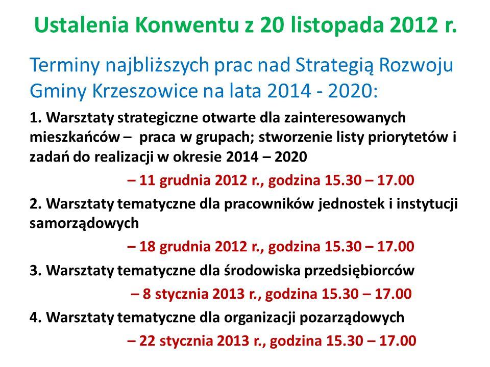 Ustalenia Konwentu z 20 listopada 2012 r.